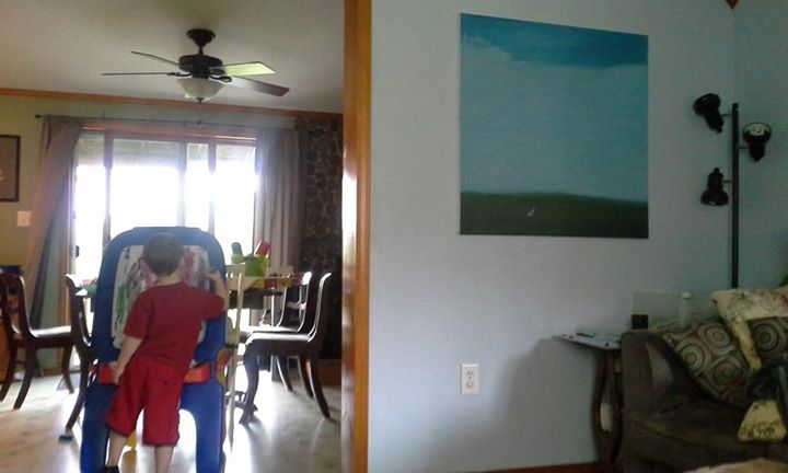 Our first day off in two weeks = a very overdue painting party! Painting upstairs as I can't get the color right for the living room painting and we're waiting for the Fed ex guy to arrive -)