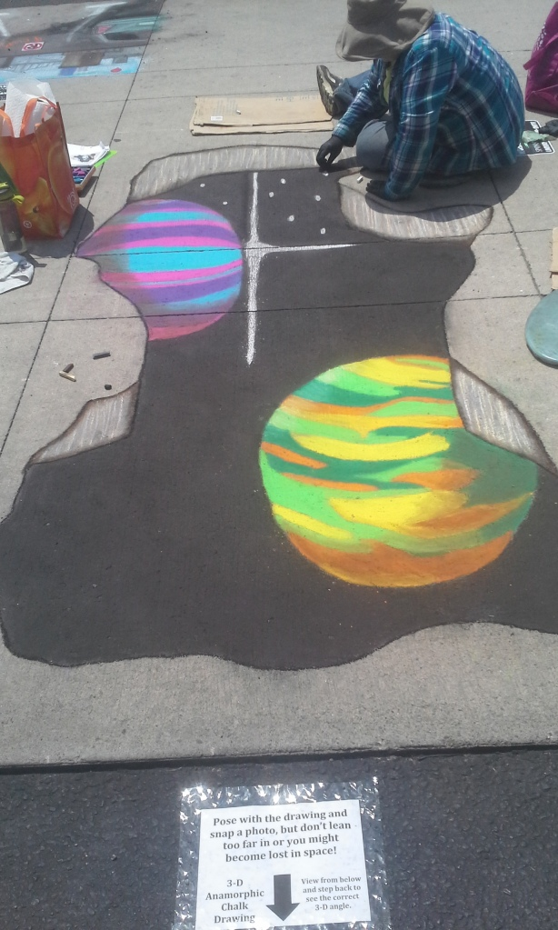 A chalk artist hard at work